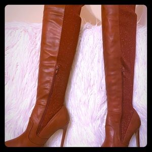 Brand new burnt red back lurex stretch hip boots